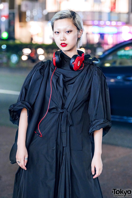 Harajuku Fashion Model W Toga Dress Red Headphones