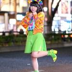 Colorful Tokyo Street Style W Handmade Rainbow Plushie Headdress Furry Bear Muffler Neon Green Dress Pom Pom Bag Tokyo Fashion