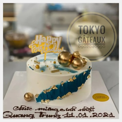 bánh sinh nhật kem tươi viền xanh sz16 - 200