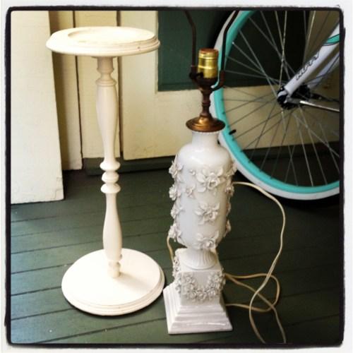 yard sale goodies blanc de chine lamp plant stand