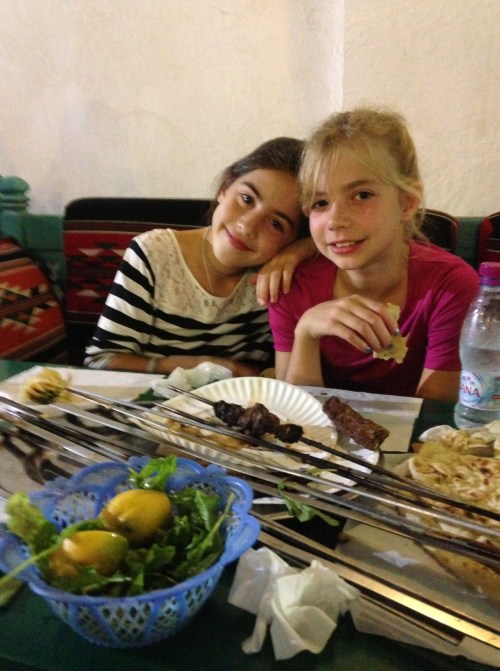 Pippa and Ashley at the souq