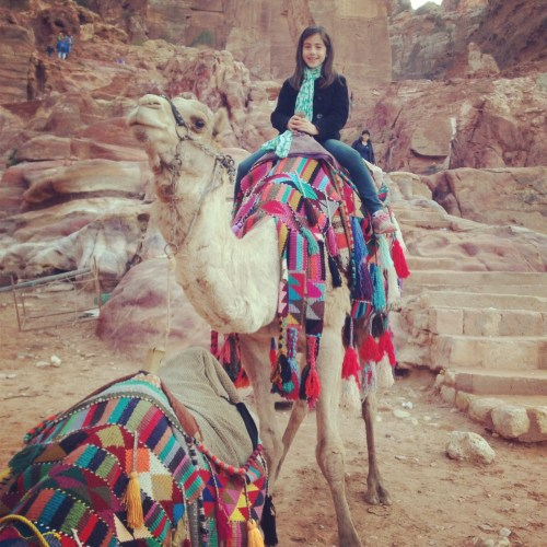 Miss P on a camel