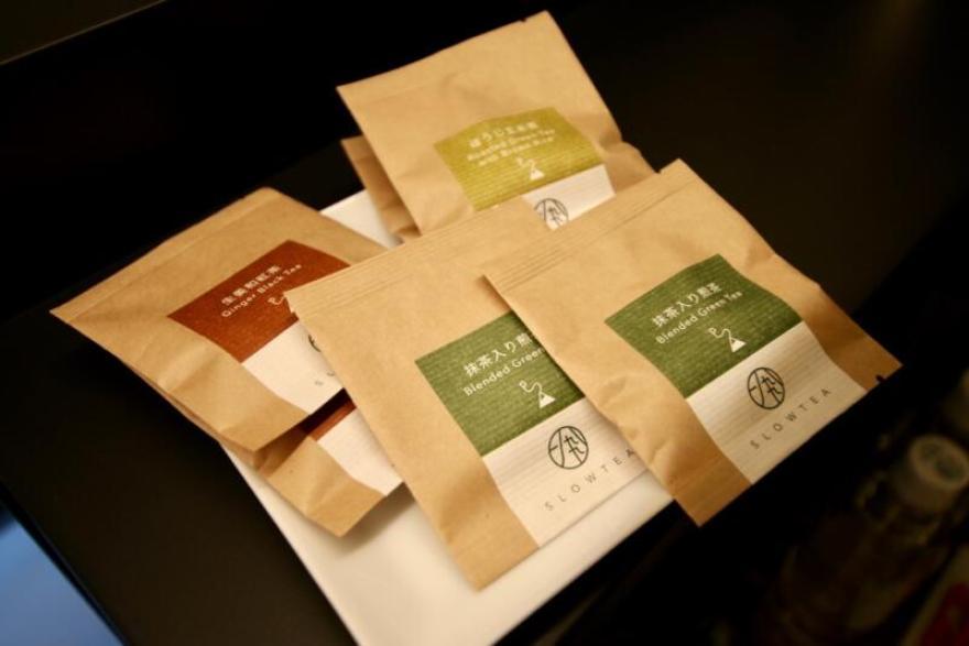 ホテル龍名館東京 龍名館オリジナルのブレンド茶「抹茶入り煎茶」「ほうじ茶」「生姜和紅茶」