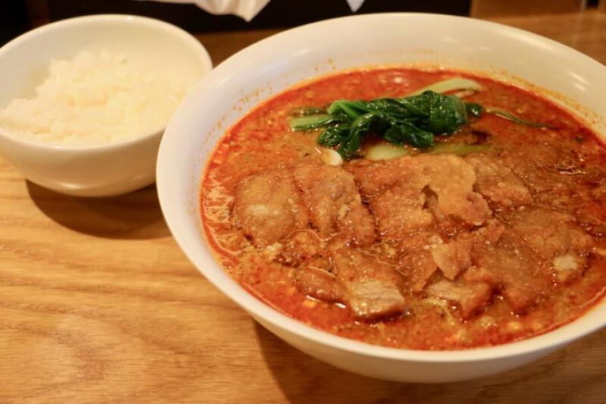 Renge no Gotoku(レンゲ ノ ゴトク)大麦三元豚 排骨担々麺とライス