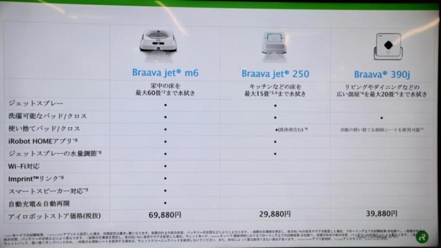 ブラーバシリーズ(ブラーバジェットm6)のスペック表