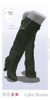 Tokyo.Girl . Lyke Boots . Forest Green Ad