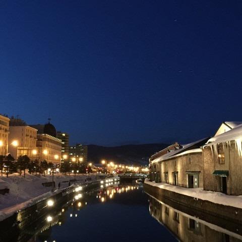 小樽の運河沿いの景色