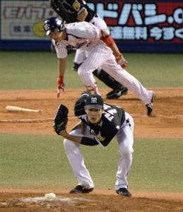 Fujinami had a number of pitches hit directly at him tonight.