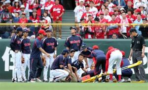 Quite the scary scene in left-center after Milledge and Yuhei ran headlong into each other.