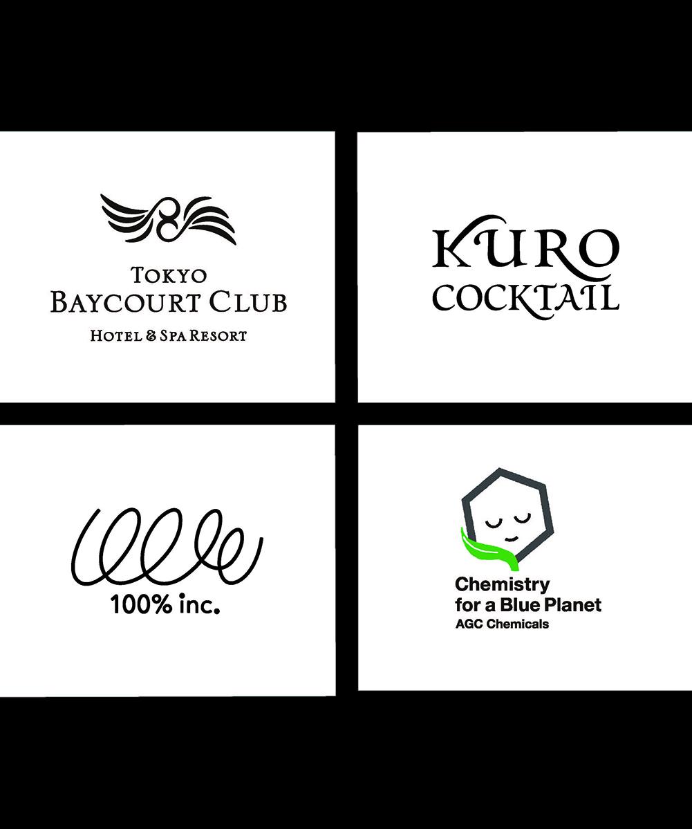 東京ベイコートクラブ CI / 2007<br /> アサヒ飲料_黒カクテル ロゴ / 2008<br /> (株)100% 企業CI / 1996<br /> 旭硝子(株)  企業コンセプトVI / 2010 | ロゴマーク