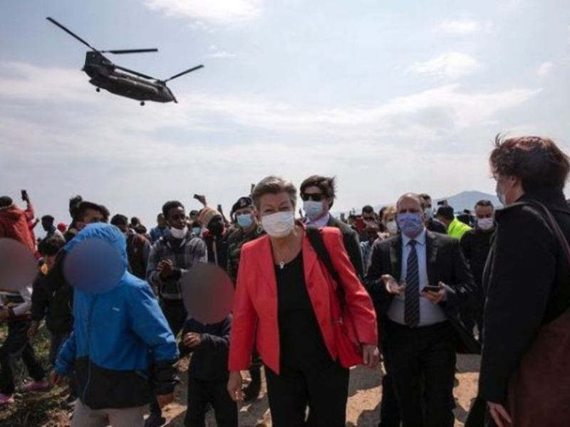 EU Home Affairs Commissioner Ylva Johansson arriving in a temporary reception center in Greece last March.