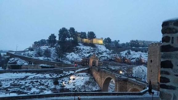 Puente de Alcántara Toledo Nevado