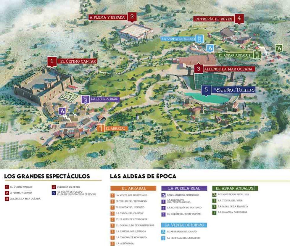 Mapa poblados y espectáculos Puy du Fou España