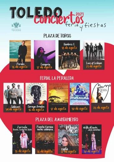 Conciertos Feria y fiestas de agosto Toledo 2021