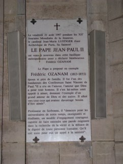 Memorial to the founder of the SVP in Church in Paris, where the SVP was founded.