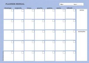 Planner mensal azul