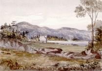La ferme de Pierre Duplain sur la Grosse-Île avant l'établissement de la station de quarantaine en 1832. Pierre Duplain et le propriétaire de l'Ile, le notaire Louis Bernier, sont expropriés en 1832.