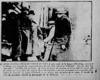 Quatre des suspects à leur arrivée au palais de justice de Montréal. La Patrie, 9 avril 1924