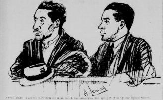 Carlo Nieri et Giuseppe Serafino lors de leur comparution. La Patrie, 10 avril 1924
