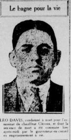 Leo Davis. La Patrie, 24 octobre 1924