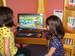 Tolland children use the popular educational software purchased by the library with a Foundation grant.