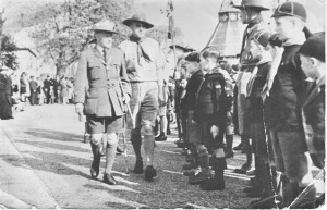 Tollerton cubs on parade at Southwell Minster, St George's Day about 1950