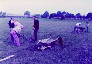 Parish councillors etc planting trees on Open Space about 1978