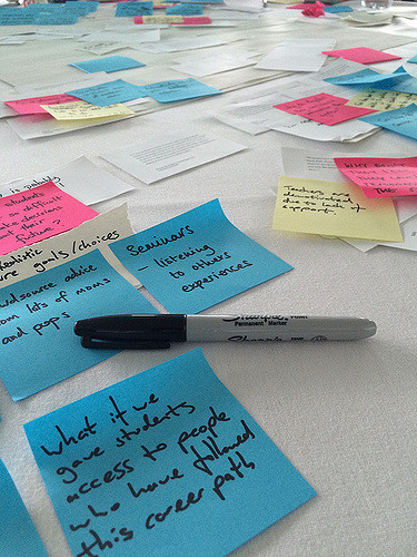 post it, sharpie post it notes and sharpies during workshop