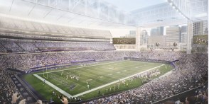 A picture window toward downtown Minneapolis was one of the initial requirements of the stadium design.