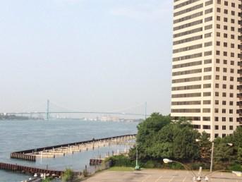 A distant view of the Ambassador Bridge.
