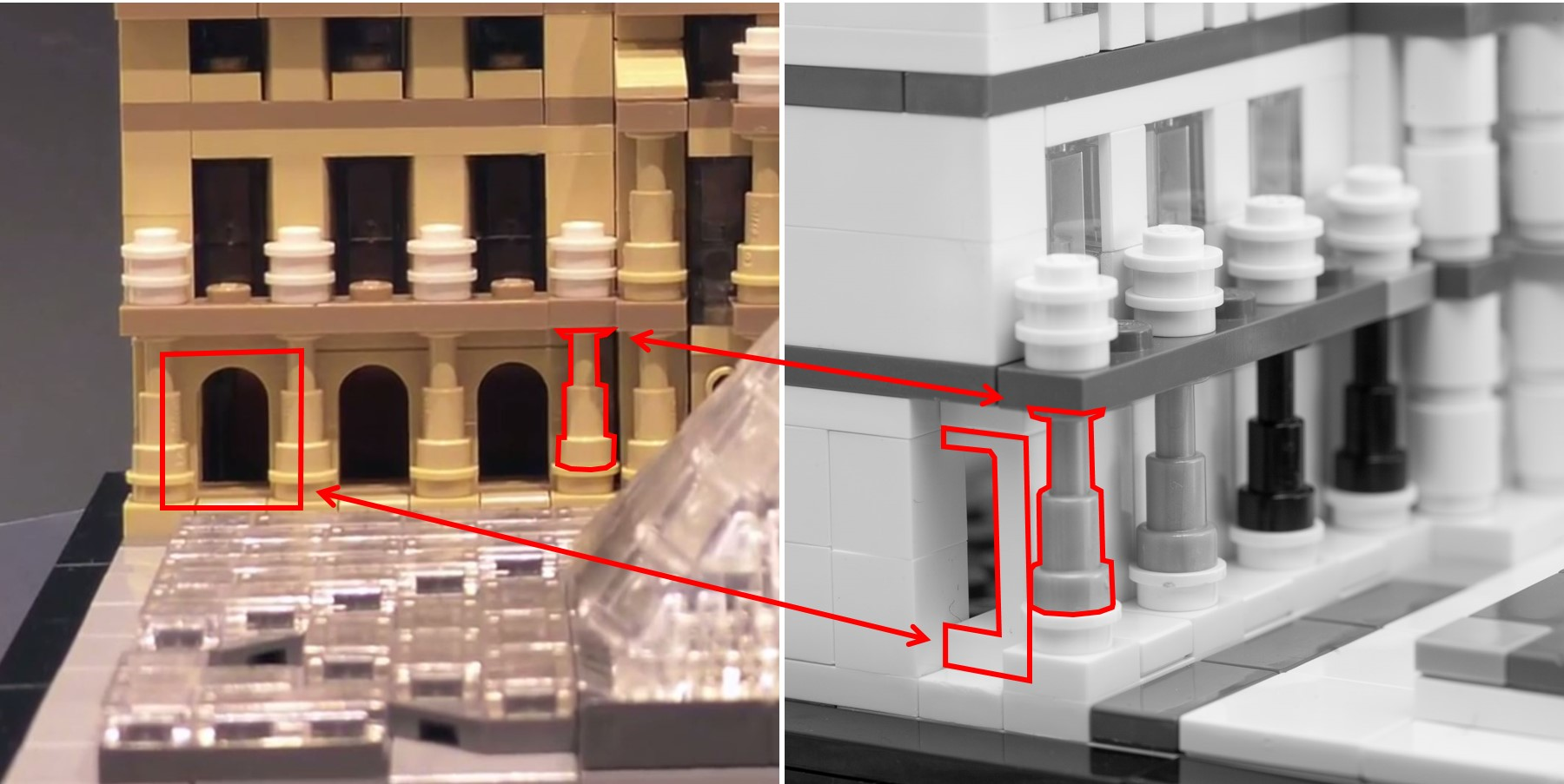 Reverse Engineering LEGO Architecture 21024     The Louvre  Part 3     Clever use of telescope for columns  and 1x2x2 panel with arch