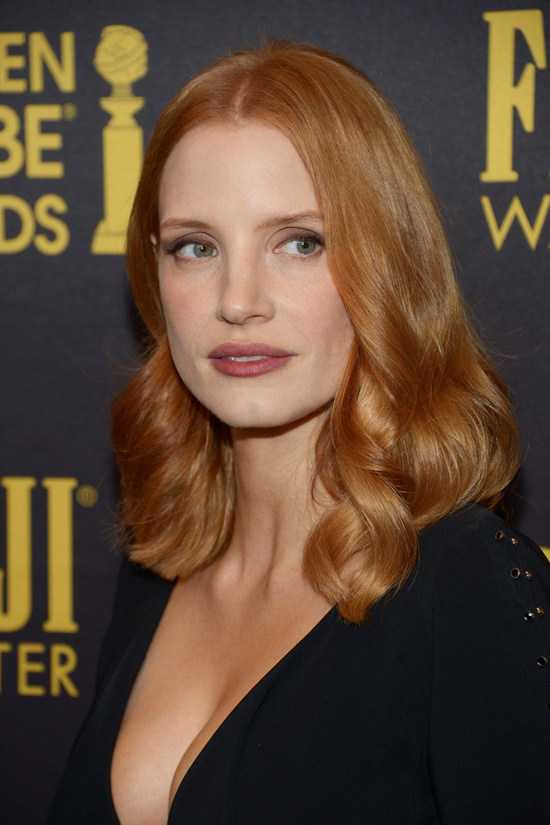 Jessica Chastain In Antonio Berardi At The HFPA And