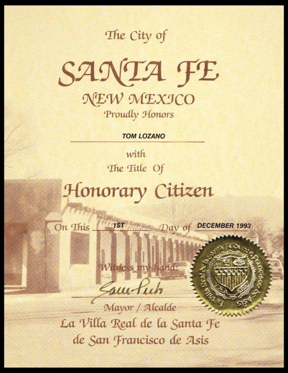 santa fe honorary citizen