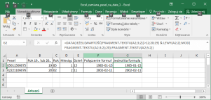 Excel - Data urodzenia z numeru PESEL
