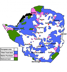 Rhodesia's white only lands: in white.