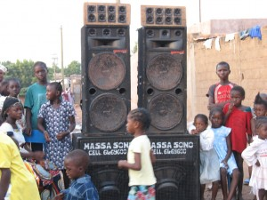 A Balani Show sound system in Mali.  Kids up to no good!