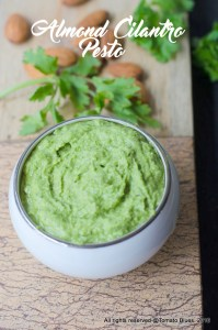 Almond Cilantro Pesto Recipe. Vegan. Gluten Free