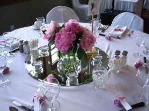 Mirror Centerpiece on White Table