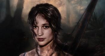Photomontage mettant en scène Alicia Vikander en Lara Croft