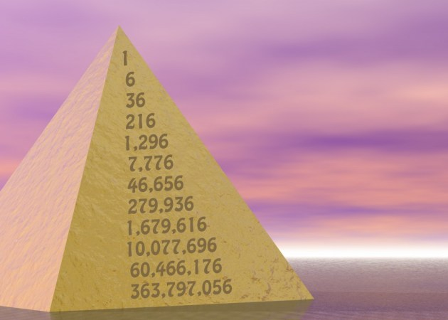 Golden Pyramid on Pink Purple Ocean Scene