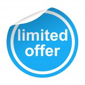 Pegatina azul con pestaa texto limited offer