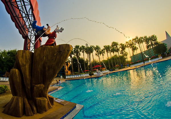Sorcerer Mickey Mouse directs a symphony of water in the pool at Disney's All Star Movies Resort.