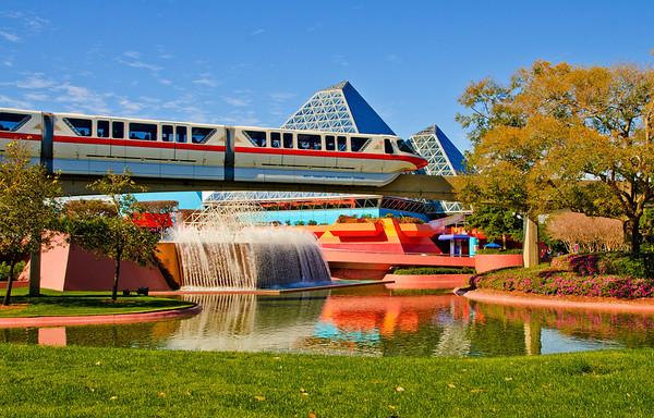 The monorail runs along Walt Disney World's