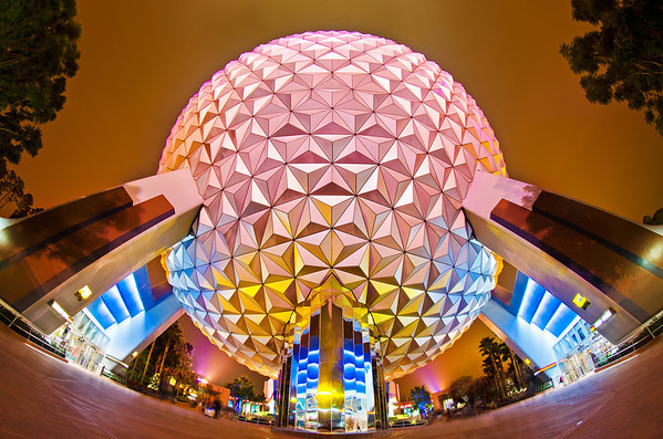 Walt Disney World ResortEpcotSpaceship EarthThe grand and miraculous Spaceship Earth as captured with a fisheye lens after the guests had left Epcot. More on Epcot: https://www.disneytouristblog.com/tag/epcot/