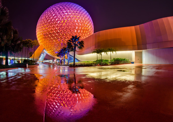 Spaceship Earth at Epcot after the rain...I love post-rain reflections! This was one of my top 12 photos of 2012 on my blog! https://www.disneytouristblog.com/top-12-disney-photos-of-2012/