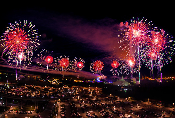Walt Disney World's Fantasy in the Sky fireworks as seen from Bay Lake Tower. Read our BLT review: https://www.disneytouristblog.com/bay-lake-tower-review/