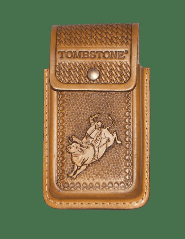 Porta celular flor café de piel