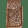 Porta celular flor miel de piel