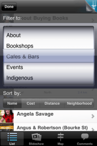 Dropdown menu from Melbourne Literary app