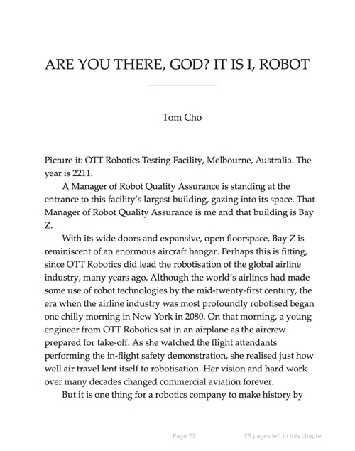 The first page of my novel excerpt in Review of Australian Fiction